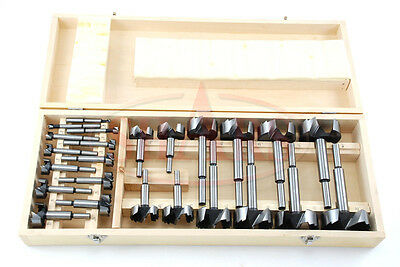 SHARS 24 Piece HSS Forstner Woodworking Wood Drill Bits NEW
