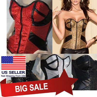 Sexy Zipper Boned Lace Up Faux Leather Bustier Gothic Punk Rock Overbust Corset