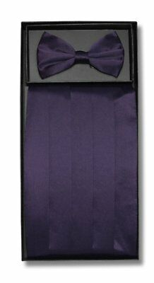 SILK Cumberbund & BowTie Solid DARK PURPLE Color Men's Cummerbund Bow Tie Set