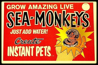 "3.25"" Vintage Comic Book SEA MONKEYS  ad. Sticker / Decal. Laptop, Marvel, DC"