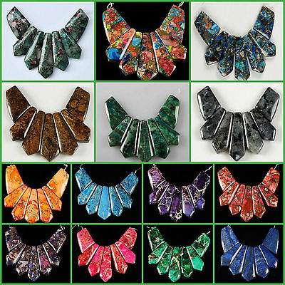 Gemstone 7 pcs graduated pendant loose beads set for necklace jewelry design