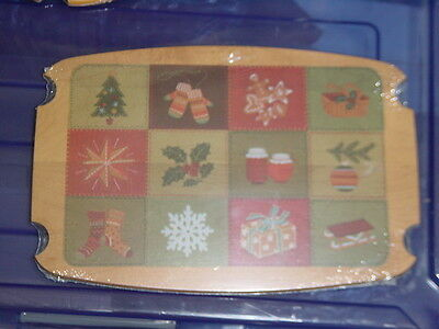 Longaberger 2002 Christmas Collection Traditions Basket Patchwork Decal Wood Lid
