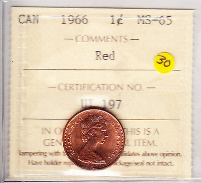 1966 Canada One Cent ICCS Graded MS-65 Red