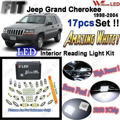 17 Bulbs Super White LED Interior Light Kit For Jeep Grand Cherokee WJ 1998-2004