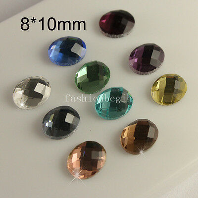 Vintage 24pc 8x10mm crystal Faceted Oval glass flatback rhinestones U-pick color