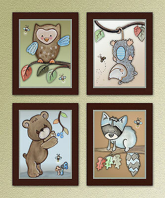 Woodland Friends. Forest Animal, Owl. Kids/Baby/Nursery Art Prints.Wall Decor
