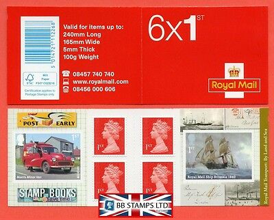 PM40 2013 6 x 1st Transport: By Land and Sea Self Adhesive Booklet