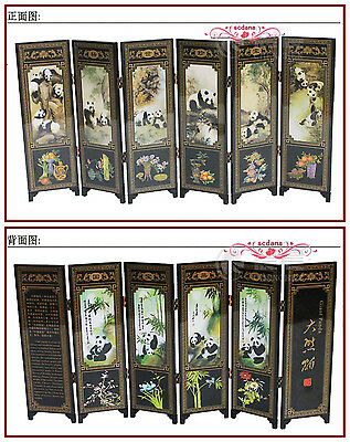 6 Pieces Panda Folding Screen Chinese Traditional Lacquerwork Screen Decoration