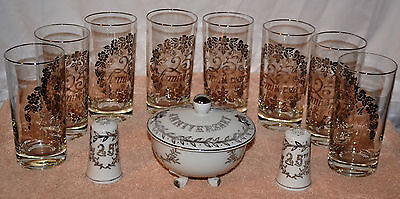 Lefton China 25th Anniversary Candy Dish, Salt and Pepper Shaker and 8 Glasses
