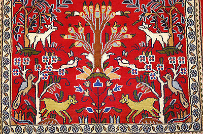 c1930s ANTIQUE ANIMAL SUBJECTS PERSIAN SAROUK RUG 2.1x3 HAPPY COLORFUL BEAUTY