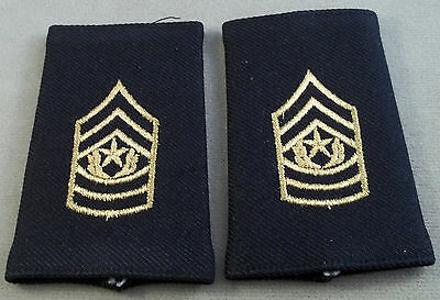 US Army Shoulder Marks - Epaulets - Command Sergeant Major - Small Size (Black)