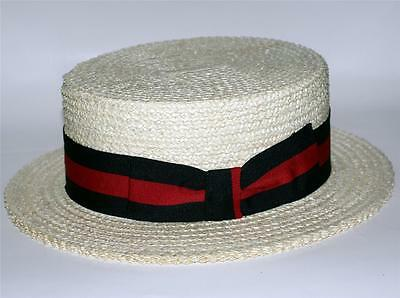 GENUINE Made in Venice ITALY Straw Braid Unisex NATURAL BOATER SKIMMER HAT New