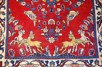 c1930s ANTIQUE ANIMAL SUBJECTS PERSIAN SAROUK RUG 2.2x2.10 HAPPY COLORFUL BEAUTY