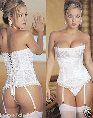 lingerie sexy CORSET SERRE TAILLE GUEPIERE BUSTIER BLANC MARIAGE PORTE JARRETELL