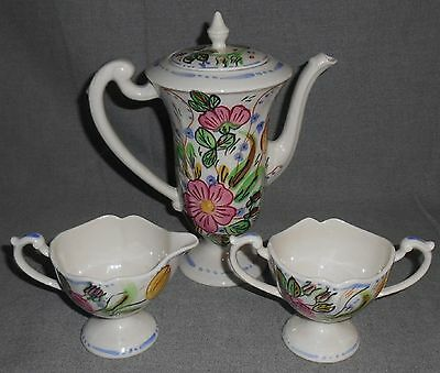 Blue Ridge ROSE MARIE 3 pc. CHOCOLATE POT/CREAM/SUGAR