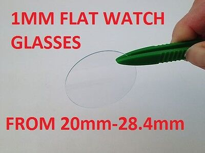 20mm - 28.4mm Flat Beveled edge watch wrist crystal mineral glass 1mm thick