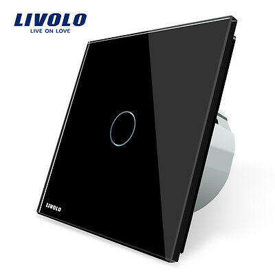 Livolo New EU Type 110-250V 1-Gang 1-Way Black Wall Light Touch Dimmer Switch