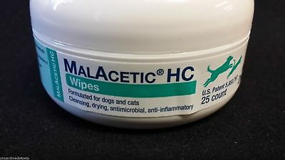 Malacetic Wipes HC 1% Hot spots Eyes stains Skin folds Dogs & Cats  25Ct