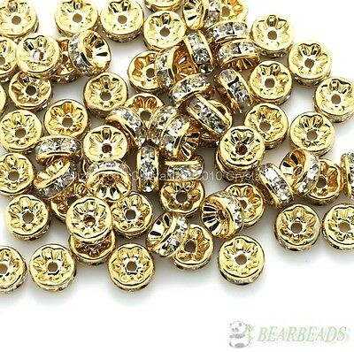 100 Czech Crystal Rhinestone Lt Rose Gold Rondelle Spacer Beads 4mm 5mm 6mm 8mm