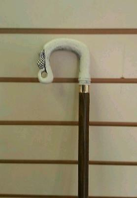 Walking Stick Crook Style With Thistle On Crook Shepherd White