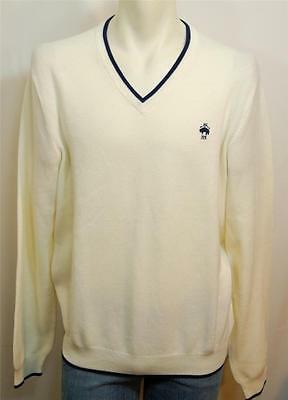 NWT BROOKS BROTHERS V-NECK SUPIMA COTTON PULLOVER LOGO KNIT