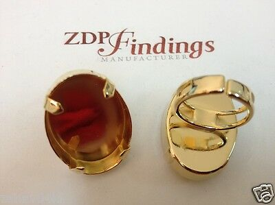2P x  30x22mm Oval Antique Gold Adjustable Ring Bezel Cup fit Swa 4547
