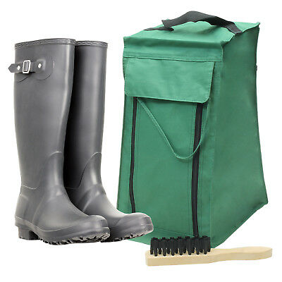 Quality Waterproof Wellington Welly Shoes Travel Boot Bag Storage & Free Brush