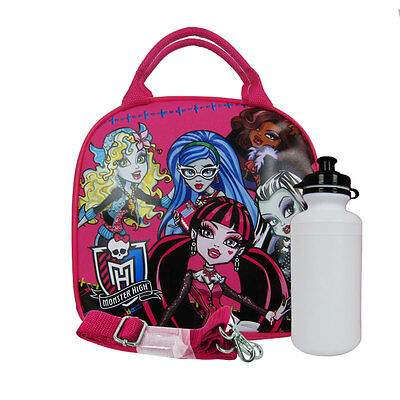 New Monster High Fashion Doll Pink School Lunch Box Bag & Bottle Water