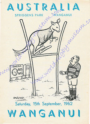 WANGANUI v AUSTRALIA 15th SEPTEMBER 1962 SUPERB RUGBY POSTER - A2 SIZE