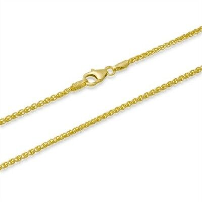 2mm 14k GOLD PLATED STERLING SILVER 925 SPIGA WHEAT CHAIN NECKLACE BRACELET