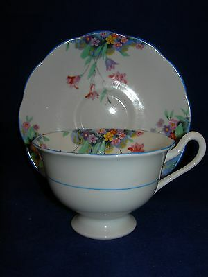 Royal Albert Crown China Footed Floral Cup and Saucer Blue Trim  Free Shipping