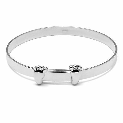 Solid Silver Christening Bangle Engraved Personalised Baby Gifts Feet Bracelet