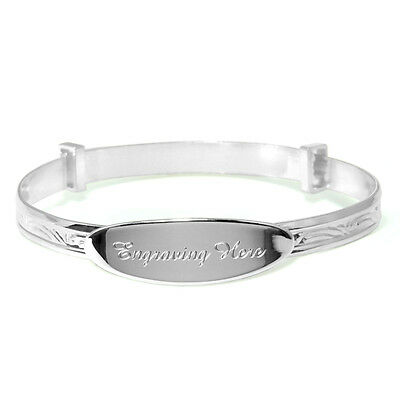 925 Silver Naming Day Gift Engraved Personalised Christening Bangle Baby Present