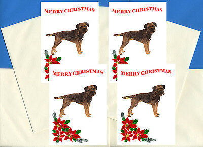Border Terrier Pack Of 4 Cards Dog Print Greeting Christmas Cards