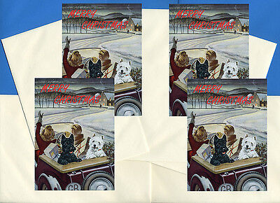Scottish Terrier Scottie And Westie In Car 4 Dog Print Greeting Christmas Cards