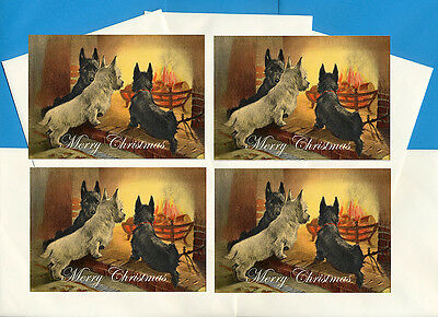 Scottish Terrier Scottie Westie By Fireside 4 Dog Print Greeting Christmas Cards