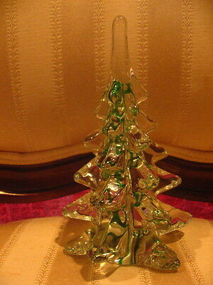 "Hand Blown Glass 6"" Tall Xmas Tree & 6"" Glass Figurine Holiday Home Decor Set"