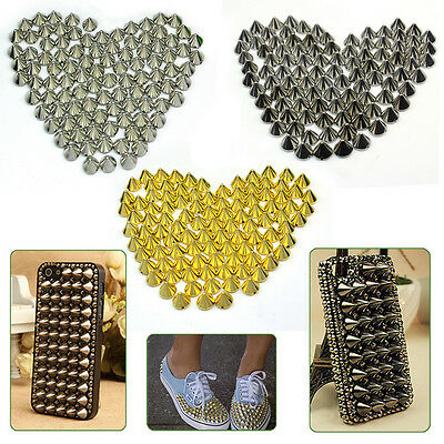 100 pcs 10mm Round Cone Spike Stud Rivet Spots Punk Bag Belt Leathercraft DIY