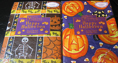 """Flannel Back Vinyl """"happy Halloween"""" Tablecloths Assorted Patterns & Sizes"""