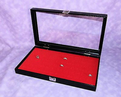 72 Ring Glass Top Jewelry Display Case Red Velvet Foam Insert