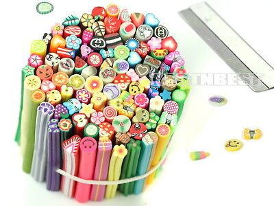 100pcs Cute 3D Nail Art Fimo Canes Rods Sticks Sticker Decoration With Blade New