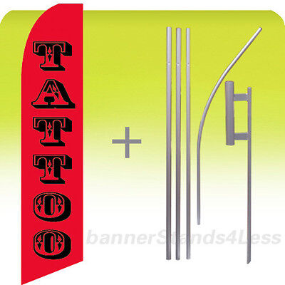 Feather Swooper Flutter Tall Banner Sign Flag 15' Kit - TATTOO rb