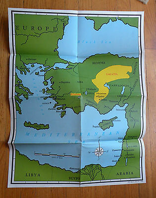 Map of Mediterranean Sea and Surrounding Lands in Biblical Times, Made in 1986