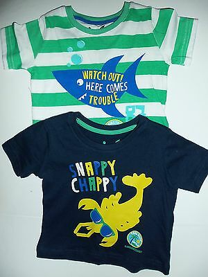 Baby Boys 2 Pack T.Shirts Navy + Green/White Stripe or Yellow + Blue with Slogan