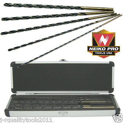 "5 Pc Piece 12"" Extra Long Aircraft Length Twist Drill Bit Set For Metal Steel"