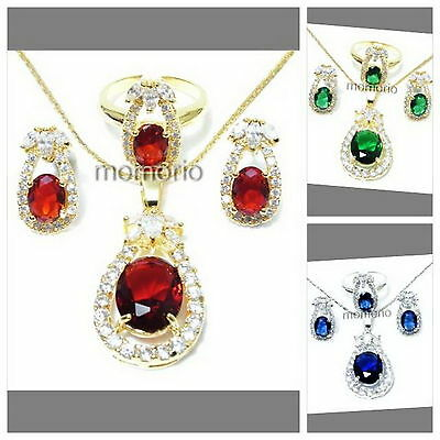 38mm 18KGP oval marquis eye round cz CRYSTAL pendant necklace earrings ring set