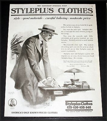 1919 Old Magazine Print Ad, Styleplus, America's Clothes, Gardner Fashion Art!