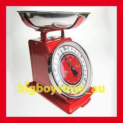 RETRO KITCHEN SCALES VINTAGE LOOK KITCHEN SCALE 5Kg COOKING ANTIQUE RED ****