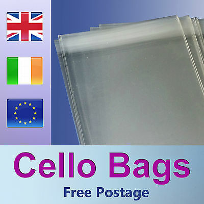 100 DL Cello Bags for Greeting Cards / Clear / Cellophane Peel & Seal Bags