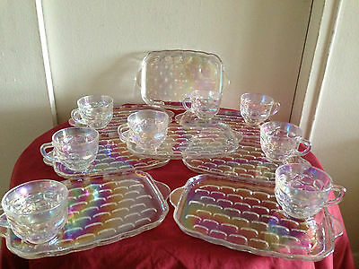 VTG FEDERAL  WHITE GLASS  - Luncheon Serving Trays with Tea/Coffee SET OF 8